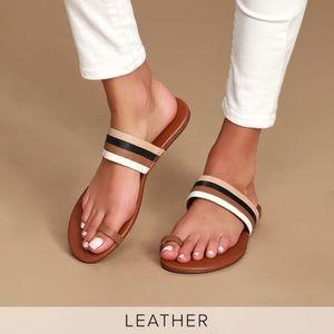 Lulus New Tessa Leather Toe Strap Sandals